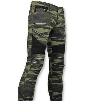 True Rise Lyx Army stil Herr Biker Jeans Zip - Skinny Fit - 3025-18 - Grön