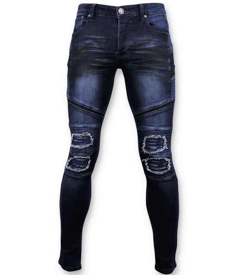 True Rise Män Biker Jeans Ripped - Skinny Fit Jeans - 3027 - Blå