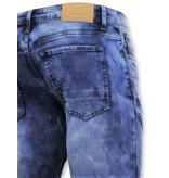 True Rise Tuff Biker Jeans Män Ripped - Skinny Fit - 3029-15 - Blå
