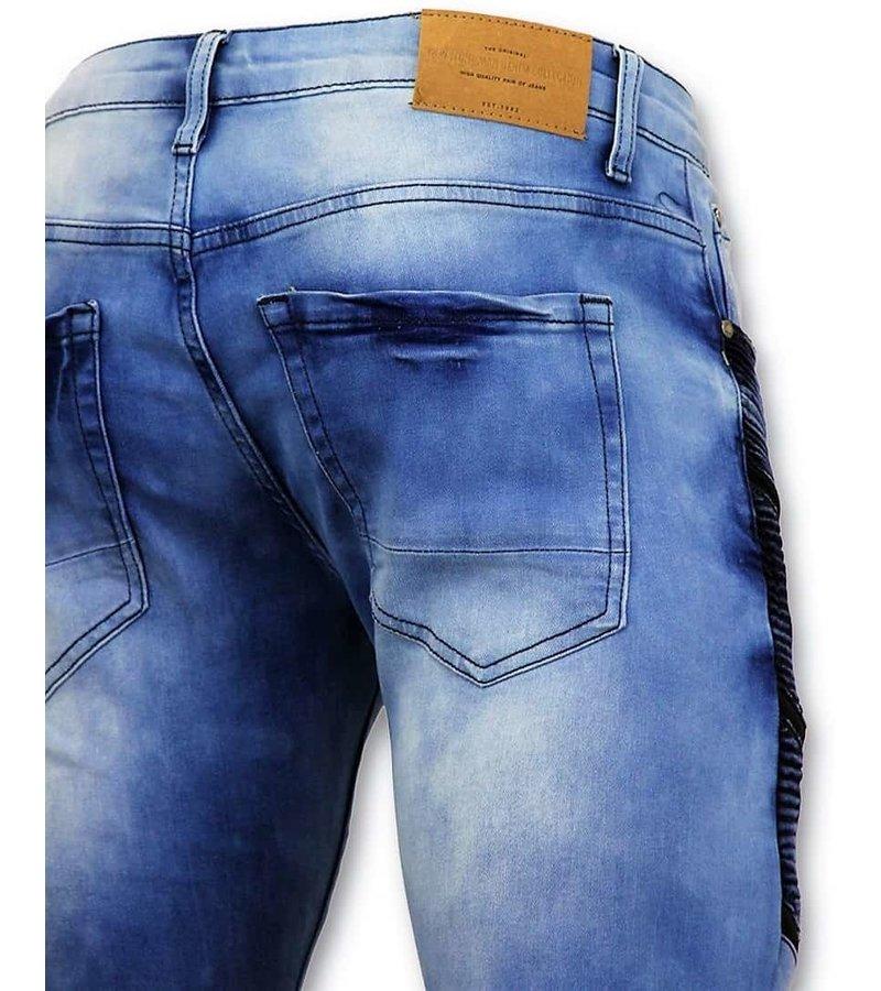 True Rise Cool Biker Jeans Män Ripped - Skinny Fit - 3028-16 - Blå