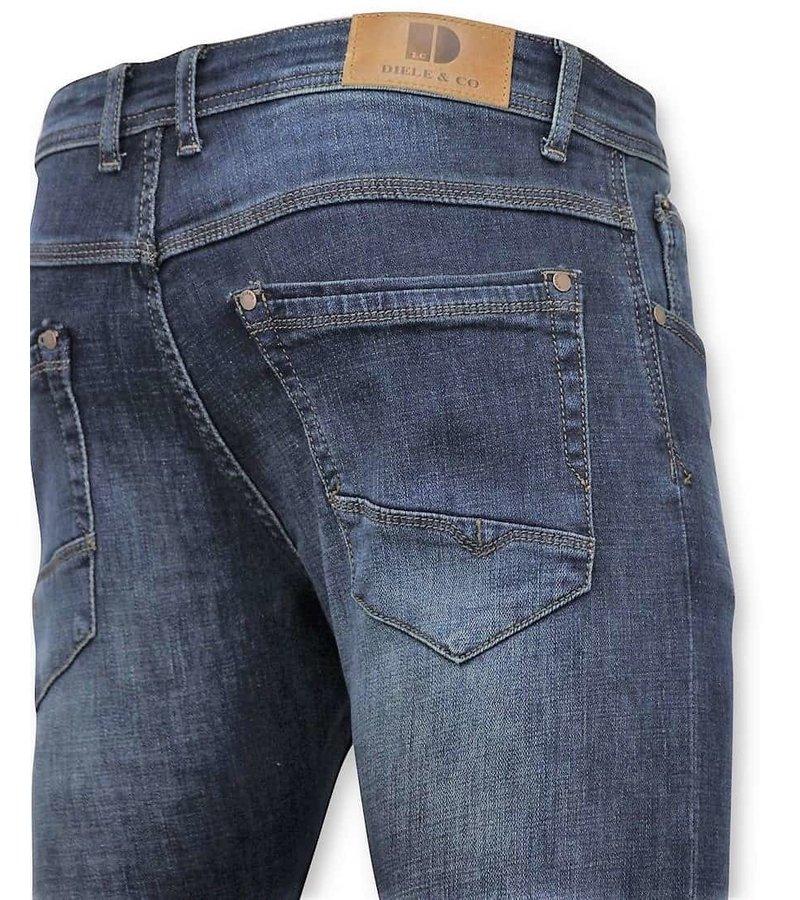 True Rise Klassiska Män Jeans - Jeans Washed - D3060 - Blå