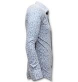 Tony Backer Män Exklusiv Italiensk Skjorta - Slim Fit Digital Printing - 3048 - Vit