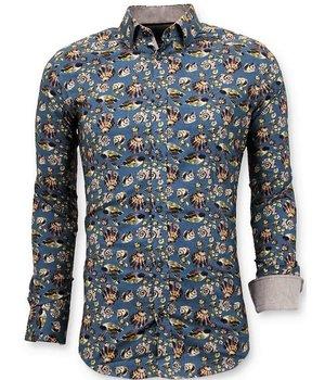 Tony Backer Lyx italienska man skjorta - Digital Floral Print - 3062 - Grön