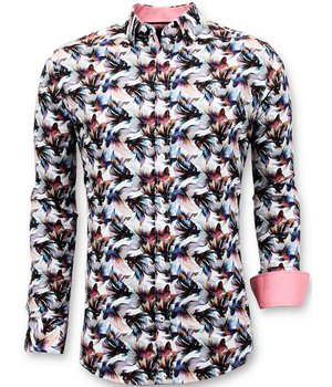 Tony Backer Lyx Män Slim Fit Shirt - Digital Floral Print - 3052 - Vit