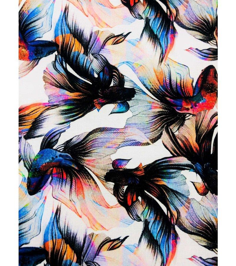Tony Backer Lyx Män Slim Fit Shirt - Digital Floral Print - 3052 - Vit