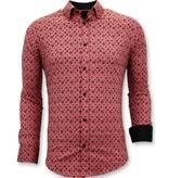 Tony Backer Business Man Skjorta - Slim Fit Digital Printing - 3044 - Röd