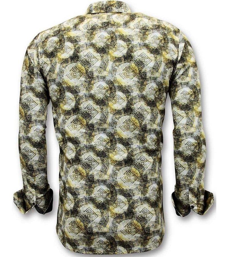 Tony Backer Lyx Män Shirts med Digital Print - Slim Fit Shirt - 3053 - Gul