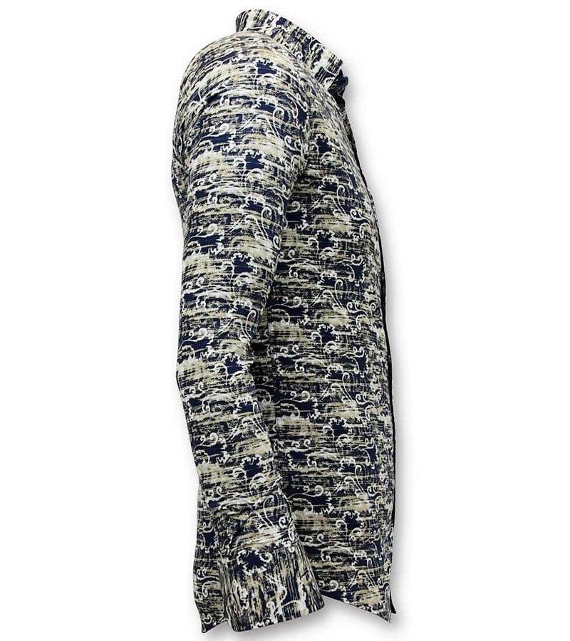 Tony Backer Lyxig Design Shirts - Digitaltryck Slim Fit - 3043 - Blå