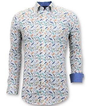 Tony Backer Lyx Herrskjortor Digital Print - Slim Fit Shirt - 3063 - Vit