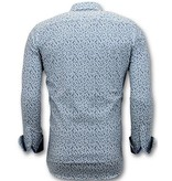 Tony Backer Lyx Män Skjorta Med Bike Print - Digital Printing -  3061 - Vit