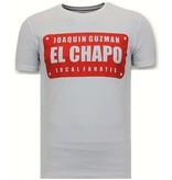 Local Fanatic Lyx Män T-shirt - Joaquin El Chapo Guzman - Vit