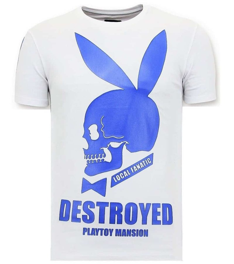 Local Fanatic Exklusiv Män T-shirt - Förstörd Destroyed Playtoy - Vit