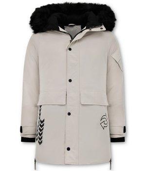 Enos Parka Jacket Män - Fuskpälskrage - Beige