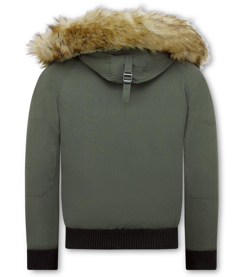 Enos Vinterjacka För Herr Kort - Fuskpälskrage - Grön