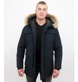 Enos Män Parka Vinterjacka - Large Real Fur Collar - Blå