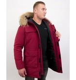 Enos Män Parka Vinterjacka - Large Real Fur Collar - Röd