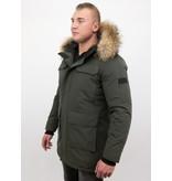 Enos Män vinter parka - Large Real Fur Collar - Grön