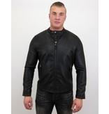 Enos Imitation skinnjacka män - Biker Jacket - ZMG-8120 - Svart