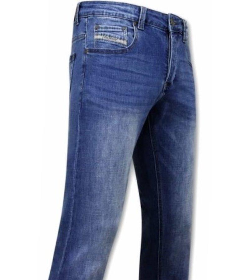 True Rise Slim Fit Jeans För Män - A-11006 - Blå