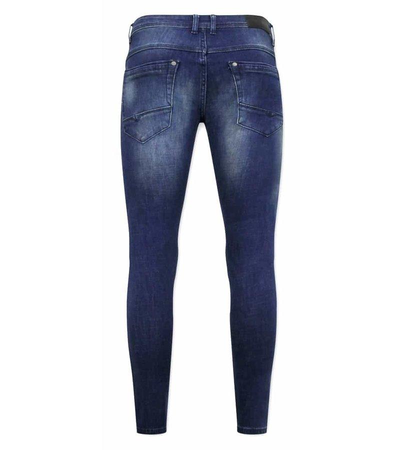 True Rise Slim Fit Jeans För Herr - D-3058 - Blå