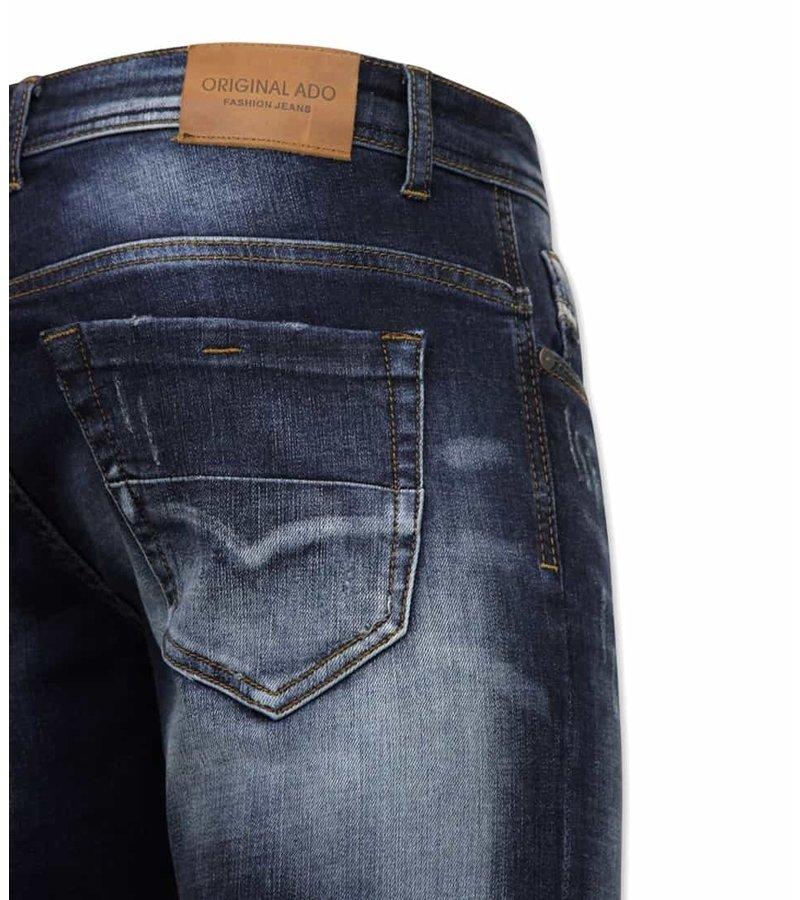 True Rise Slim Fit Jeans För Herr - A-11016 - Blå