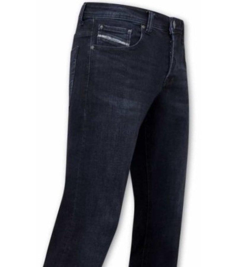True Rise Slim Fit Jeans För Män - A-11025 - Blå