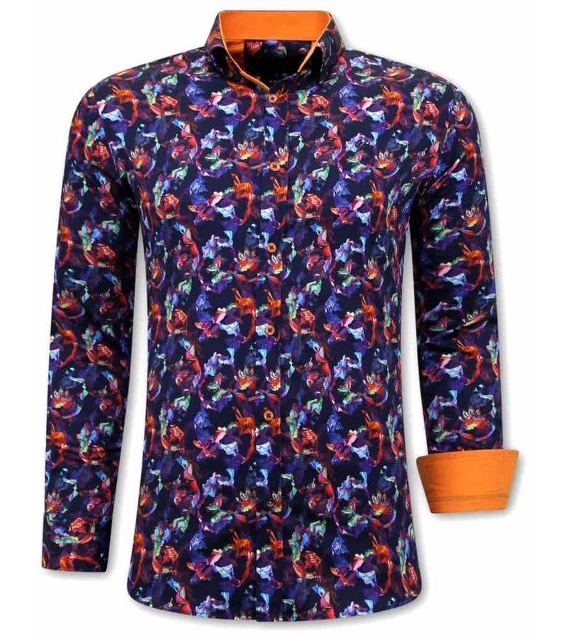 Tony Backer Exklusiva Skjortor Herr - Slim Fit - 3071 - Orange / Lila