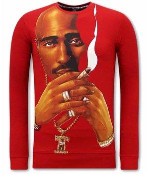 Tony Backer Tupac Smoking Tryck på Tröja - Röd