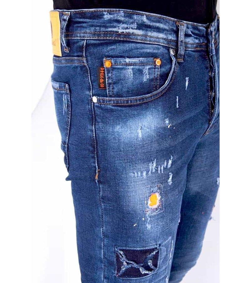 True Rise Paint Drops Stretch Jeans  - 52-01B - Blå