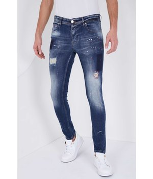 True Rise Slim Fit Stretch Jeans - 5201C - Blå