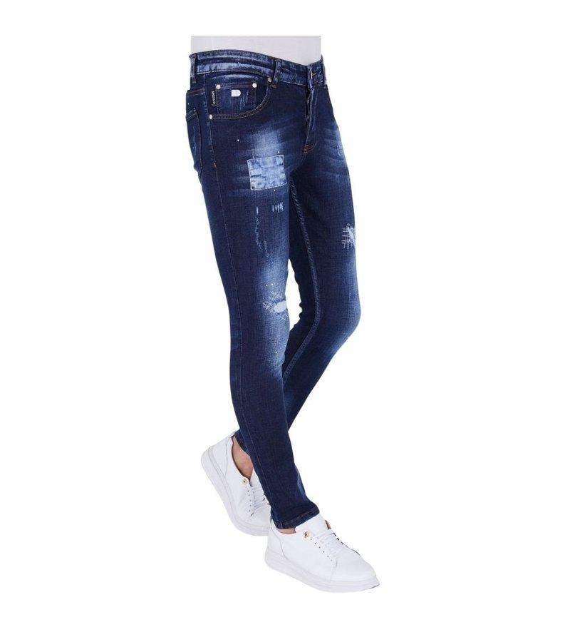 True Rise  Slim Fit Slitna Jeans Herr - 5201D - Blå