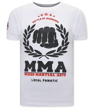 Local Fanatic MMA Fighter Herr T-Shirt  - Vit