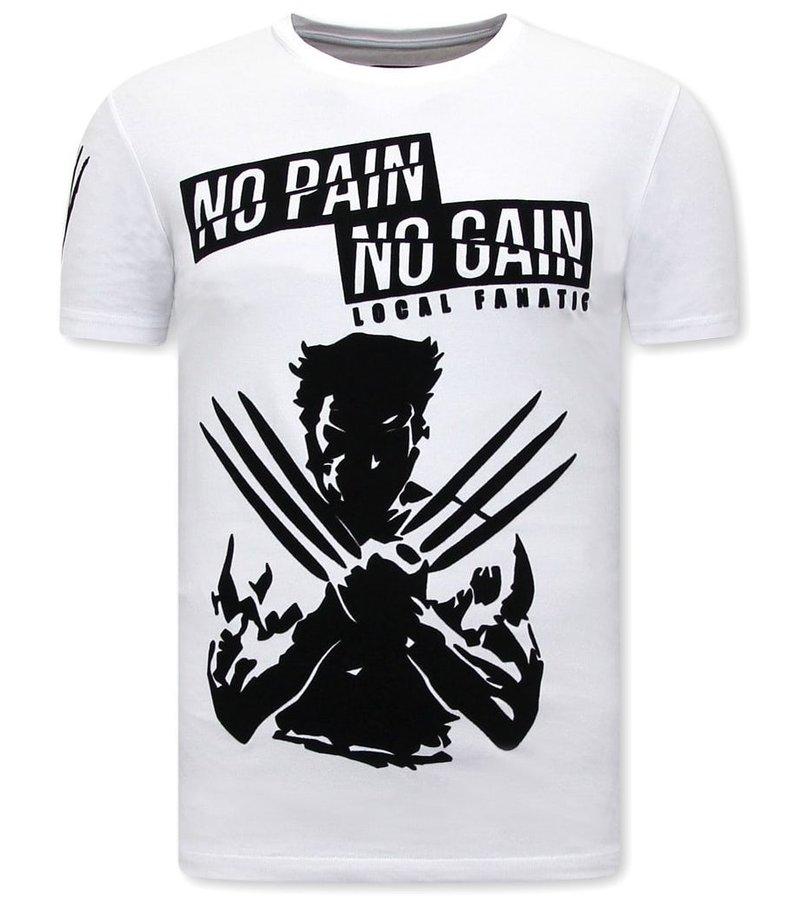 Local Fanatic  Wolverine  X Man T Shirt Med Tryck - Vit