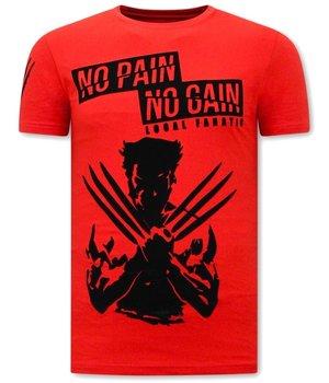 Local Fanatic Wolverine  X Man T Shirt Med Tryck - Röd