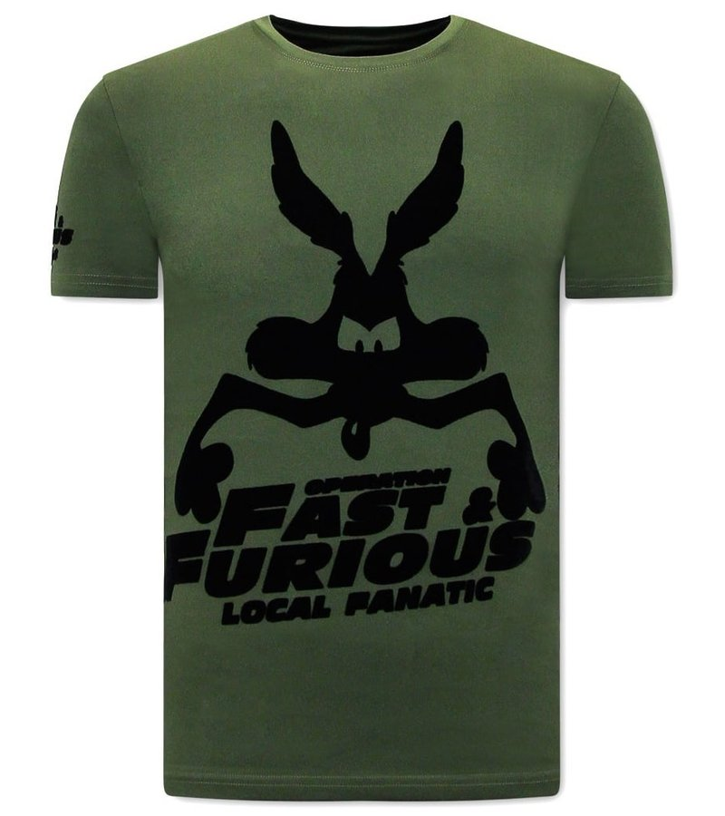 Local Fanatic  T Shirt Med Tryck  Fast and Furious - Grön