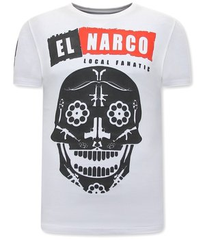 Local Fanatic El Narco T Shirt  Med Tryck - Vit