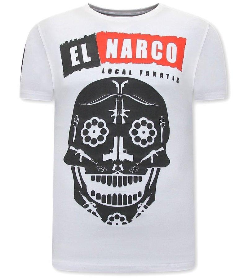 Local Fanatic El Narco T Shirt Med Tryck - Vit