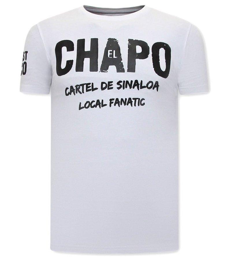 Local Fanatic EL Chapo Cartel de Sinaloa  Herr T Shirt - Vit