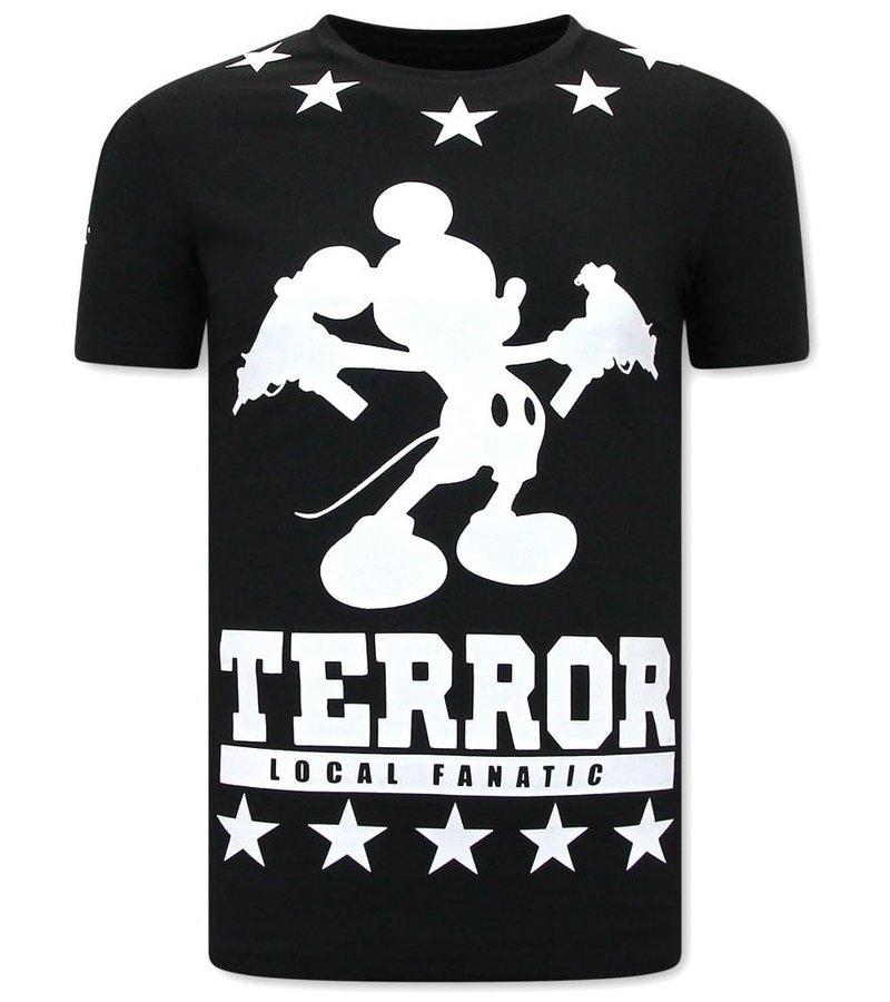 Local Fanatic Herr T Shirt Terror Mouse - Svart