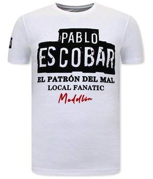 Local Fanatic Pablo Escobar T Shirt Herr - Vit