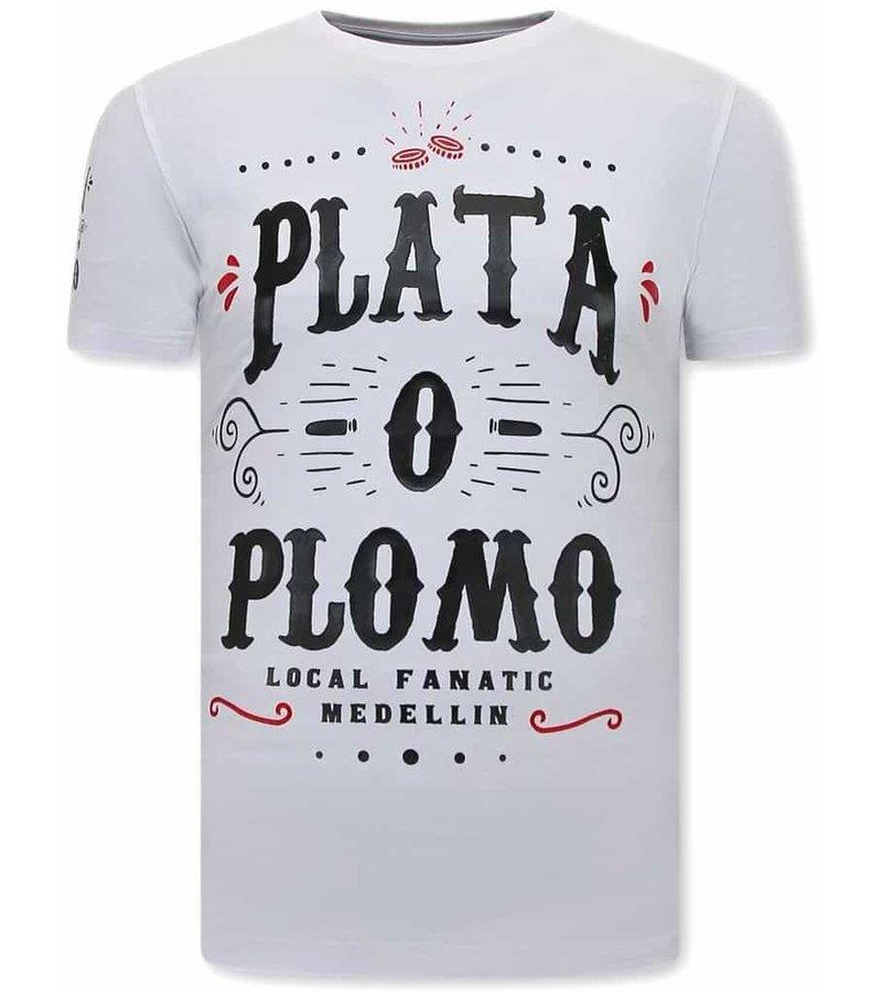 Local Fanatic Narcos Plata O Plomo  Herr T-Shirt - Vit