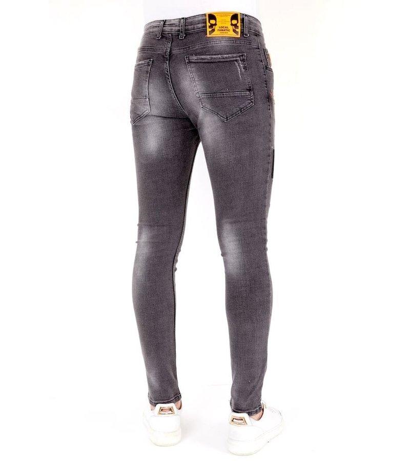 Local Fanatic Jeans Med Färgstänk - 1034 - Grå