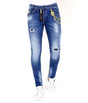 Local Fanatic Slitna Jeans Med Färgstänk - 1023 - Bla