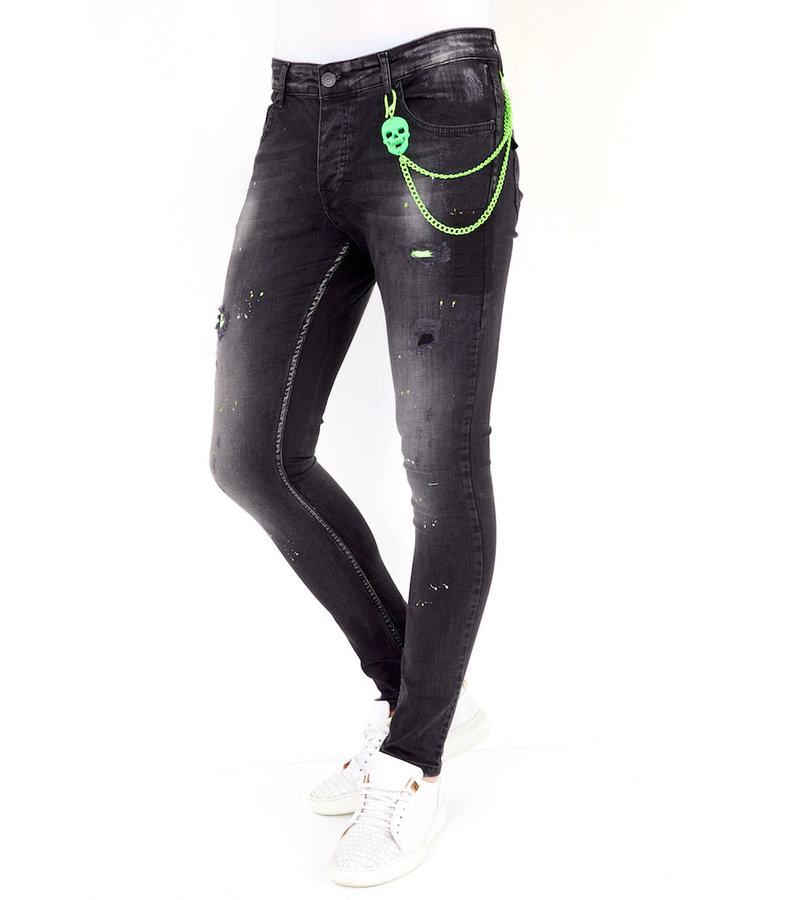 Local Fanatic Avsmalnande Jeans Med Färgstänk - 1029 - Svart