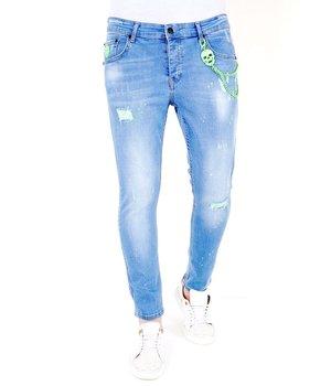 Local Fanatic Slim Fit Jeans Med Slitning - 1027- Bla