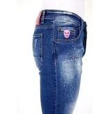 Local Fanatic Jeans Med Färgstänk Herr  - 1036 - Blå