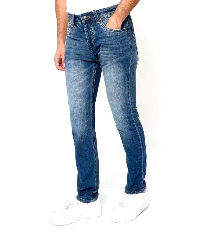 True Rise Jeans Stretch Herr - A-11027 - Bla