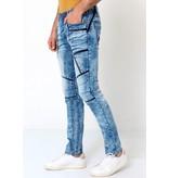 True Rise Slitna Jeans Med Färgstänk - W6002 - Bla
