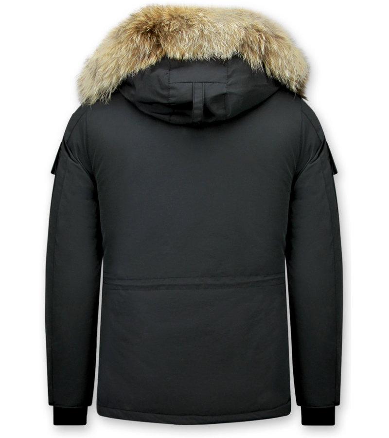 Matogla Damer Vinterrock Medellängd - Pälskrage Parka - 7603Z - Svart