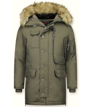 Just Key Vinterjackor Online Herr - Fake Fur Collar Parka - Grön